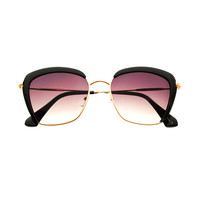 Cute Womens Fashion Half Frame Metal Cat Eye Sunglasses C1660