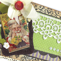 Handmade Christmas Card, Santa Card, Shabby Chic Card, Shabby Chic Christmas card