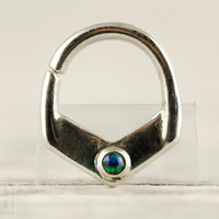 Septum Ring Nose Ring Septum Jewelry Green Opal Body Piercing  Sterling Silver Indian Style 14g 16g - SE029R SS OP19