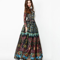 Vintage Runway Bohemian Ethnic Floral Print Maxi Dress