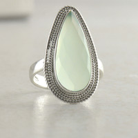 Aqua Chalcedony Sterling Silver Statement Ring