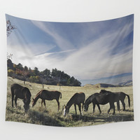 Free horses at the mountains Wall Tapestry by Guido Montañés