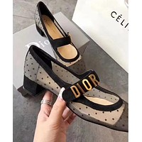 Dior New Popular Women Heels Sandals Shoes Net Yarn Single Shoes I-ALS-XZ