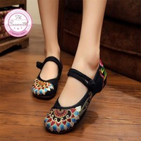 Fashion Old Peking Cloth Shoes, Chinese Style Totem Flats Mary Janes Embroidery Casua