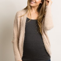 Charcoal Fuzzy Knit Dolman Sleeve Maternity Cardigan