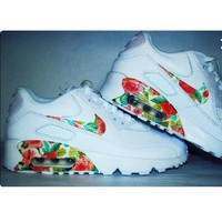 NIKE AIR MAX 90 fashion ladies men running sports shoes sneakers F-PS-XSDZBSH White + fresh flowers-2