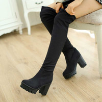 2015 Drop Shipping Thick High Heels Platform Fall And Winter Over The Knee High Boots Female Sexy Casual  Solid Long Boot