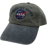 I NEED MY SPACE Nasa Meatball Embroidered 100% Cotton Cap - Olive Navy