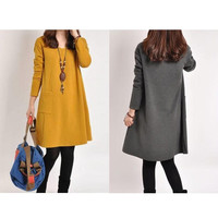 Fashion Maternity Dress Women Pregnance Long Sleeve Casual Loose Dress Autumn Winter = 1946485380