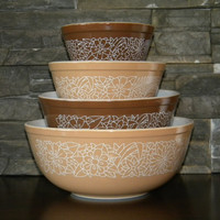 Pyrex, Woodland Round Nesting Mixing Bowls-Set of 4-Brown, Beige, White Outlined Flowers and Leaves -401, 402, 403, 404-Great Condition-1978