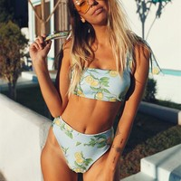 Hot selling trend lemon print high-waisted, knotted swimsuit, sexy bandage and two-piece bikini