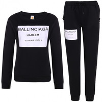 Women Fashion Casual Letter Print Pullover Sweatshirt Sweats And Pants Set Tracksuit