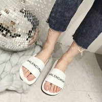 balenciaga summer women all match fashion letter genuine cow leather slippers home casual flat shoes sandals