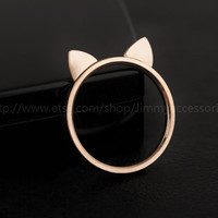 Cat Ears Rings, rose gold, kitty cat ring with a gift box,Gift Rings,Gift,Animal ring,couple ring,lovely ring, rose gold Ring