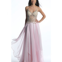 Dave & Johhny 1046 Crystal Pink Sheer Chiffon Embellished Gown 2015 Prom Dresses