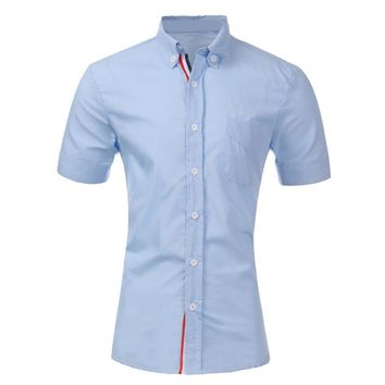 Mens Summer Style Cotton Short Sleeve Dress Shirt 5 Colors Size L-XXL