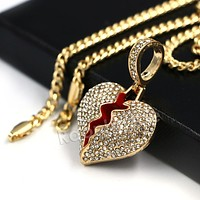 "Raonhazae Hip Hop Ice CZ Bubble Broken Heart Full Diamond Pendant Necklace Chain w/ 4mm 24"" Cuban Chain"