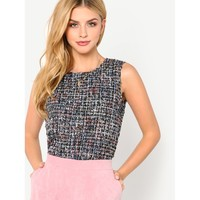 Button Keyhole Back Tweed Shell Top