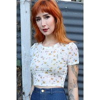Stone's Throw Floral Mesh Crop Top