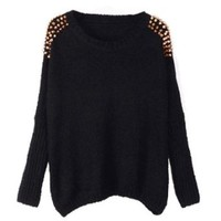 PrettyGuide Women Embellished Spiked Studs Chain Jumper Sweater Tops Black
