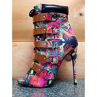 "Multi-Color Fleek Gold Band Open Toe Ankle Boot 4.5"" Heel Nelly Bernal"
