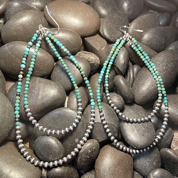 Genuine Navajo and Turquoise Small Bead Double Hoop Earring