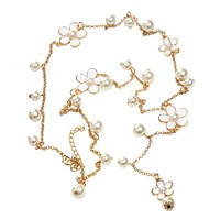 Long Sweater Chain Simulated Pearl Vintage Ethnic Bohemia Pearl Pendant Necklace
