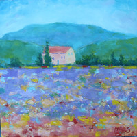 LAVENDER FIELD IMPRESSIONISM - 12 x 12 - Original Oil Painting - Home Decor - Landscape - France - Purple - Impressionistic Art - Artwork