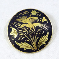 Gold and black bird of paradise pin brooch, Spanish damascene brooch, gold scarf pin, gold coat pin, vintage Oriental style brooch