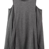 Dark Gray Cold Shoulder Long Sleeve T-shirt