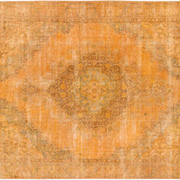 """Sold. 9'0"""" x 11'8"""" Yellow Gold Turkish Overdyed Rug"""