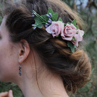 Hair comb rose Hair accessory flower hair comb boho bridal comb flower girl hair comb festival flower comb woodland hair comb floral ARIANA