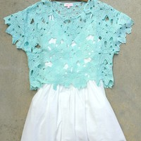 Mint Crochet Lace Crop Top