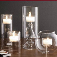 European Modern Glass Candlestick Crystal Glass Candlestick Weeding Home Decor Candle Holders Romantic Dinner Christmas