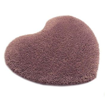 Solid Color Thick Fluff Heart Door Ground Foot Mat Carpet   grey purple  40*50cm