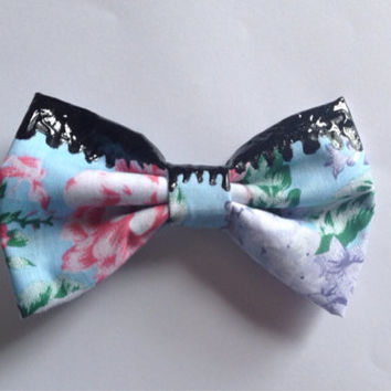 Grunge Dripping Black Floral Hair Bow Hairbow Melting Toxic Hipster Emo Goth Gothic Pastel Goth Blue Purple Pink