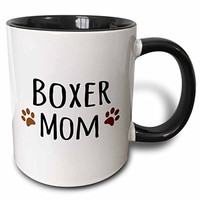 3dRose mug_154083_4 Boxer Dog Mom Doggie by Breed Brown Muddy Paw Prints Love Doggy Lover Proud Mama Pet Owner Two Tone Black Mug, 11 oz, Black/White