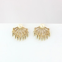 Minimalist Gold Plated Ear Jacket Earrings with Pearl Studs by Fashnin.com