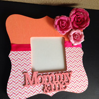 Mommy and Me Coral and Pink Chevron Picture Frame