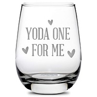 Premium Stemless Wine Glass, Baby Yoda One For Me, 16oz