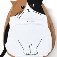 Lovely Cat Embroidery Backpack Laptop Bag Travel Bag