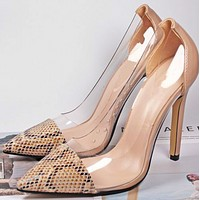 Hot style light mouth pointed matching color transparent serpentine stilettos  shoes