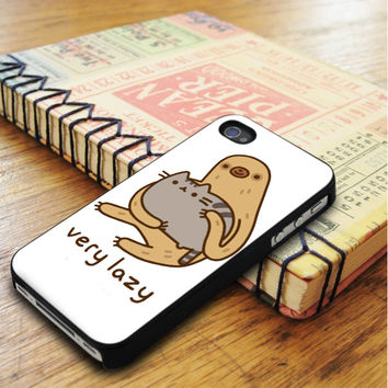 Pusheen Cat And Sloth Very Lazy iPhone 5 Or 5S Case