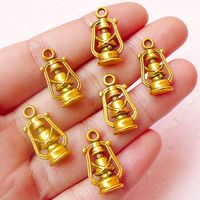 Nautical Lantern Charms Night Light Charms (6pcs) (11mm x 20mm / Antique Gold / 2 Sided) Pendant Bracelet Earrings Zipper Pulls CHM428