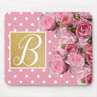 Pink Polkadot and Peonies Mouse Mat | Zazzle.co.uk