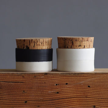 pair of corked cellars. salt and pepper cellar. black and white pottery. small lidded containers. modern pottery READY MADE