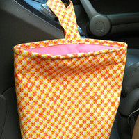 Car Trash Bag with Water Resistant PUL Lining for Gear Shift Orange/Yellow/White Print & Pink Lining Washable Car Trash/Waste/Refuse Bag