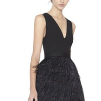 Kiara V-Neck Bell Shape Ostrich Feather Dress | Alice + Olivia