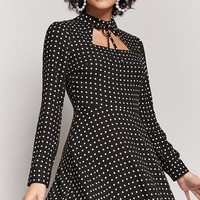 Polka Dot Cutout Dress