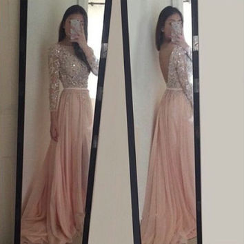 Beautiful A Line Long Sleeve Prom Dresses 2016 New Beading Crystal Backless Floor Length Party Evening Gowns